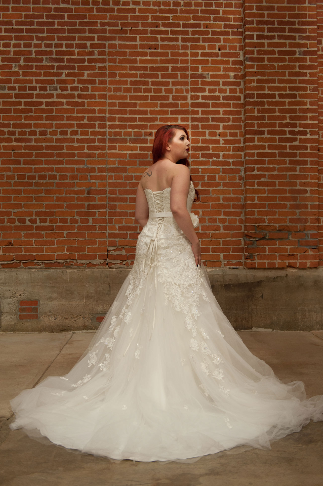 The Sophia Tolli Dress Has A Belt Which Attaches At The Flower On Front,  Thus Wrapping All The Way Around The Waist. The Lacing Loops Were The Same  Side To ...